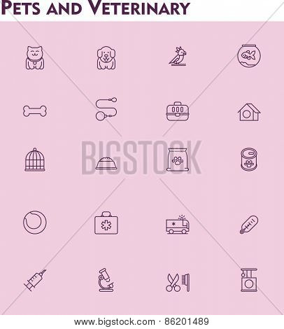 Set of the veterinary and domestic pets related icons