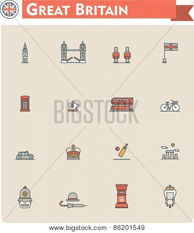 Set of the Great Britain traveling related icons