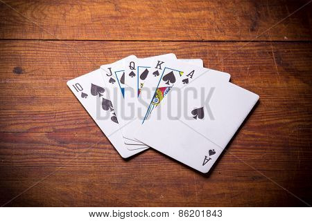 Poker. Combination Royal Flush spades