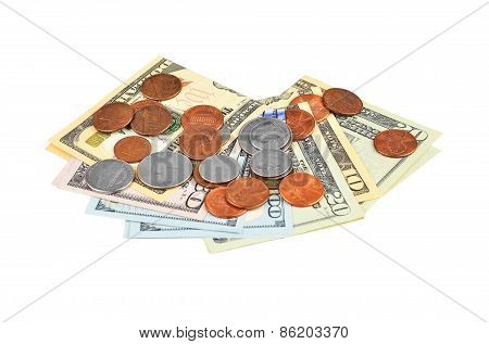 Coin and dollar banknote