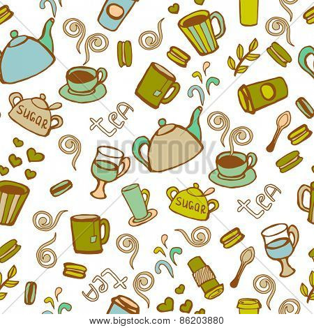 Tea and coffee  seamless background. Vector doodles pattern.
