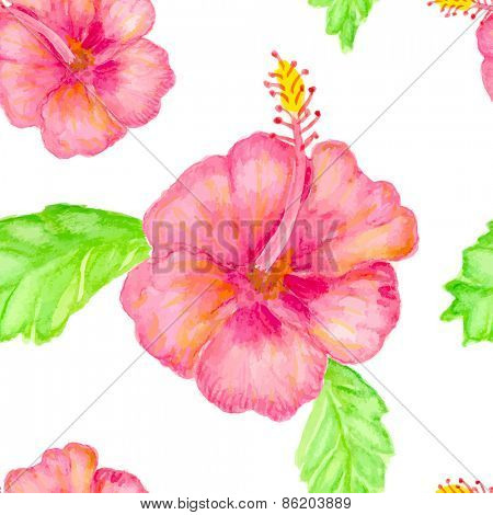 Hibiscus flowers, vector background, watercolor painted seamless pattern.