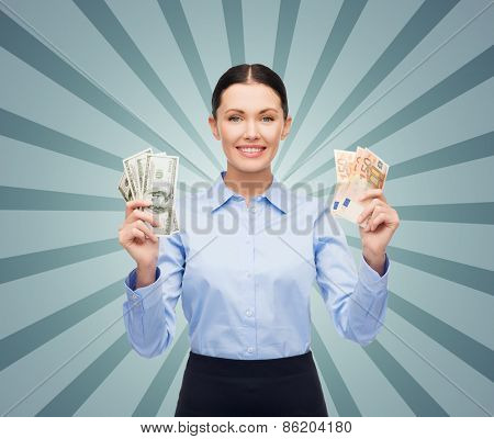 business, people, banking and finances concept - young businesswoman with dollar and euro cash money over blue burst rays background