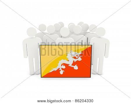 People With Flag Of Bhutan