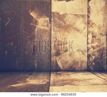 grunge metallic interior, retro filtered, instagram style