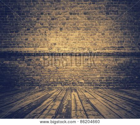 old room with brick wall, vintage background, retro filtered, instagram style