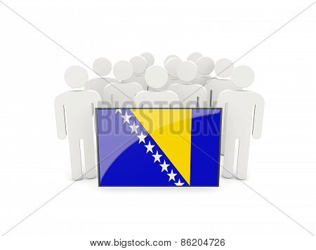 People With Flag Of Bosnia And Herzegovina