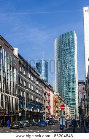 Frankfurt Am Main Street With Skyscraper