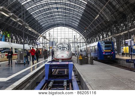 People Arriving Or Departing At The Frankfurt Main Train Station
