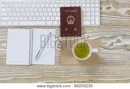 Office Desktop With China Passport And Green Tea