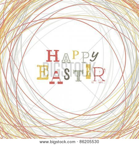 Happy Easter Greeting Card with Symbolic Nest Background