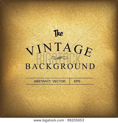 Golden vintage background. Vector template
