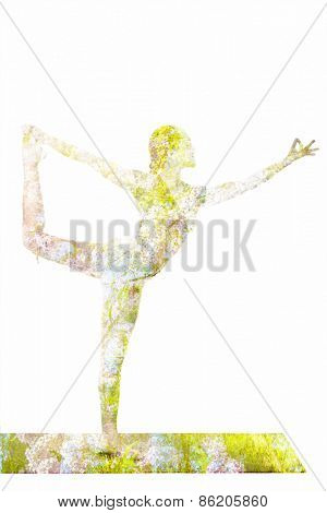 Nature harmony healthy lifestyle concept - double exposure image of  woman doing yoga asana Lord of the Dance Pose (Natarajasana) asana exercise isolated on white background