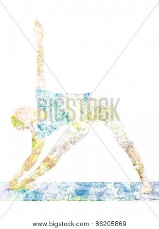 Nature harmony healthy lifestyle concept - double exposure image of  woman doing yoga asana Triangle asana pose (utthita trikonasana) in ashtanga vinyasa style exercise isolated on white background