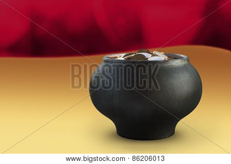 Dark Metalic Pot With Euro Currency