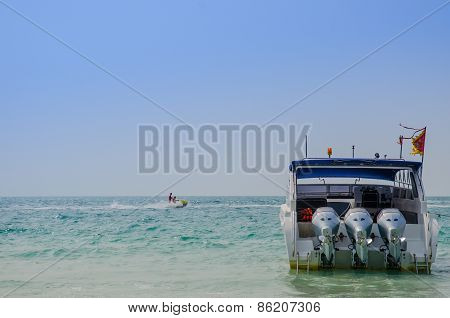 Speed Boat With Blue Sky