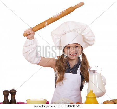 ��¡ute little girl baking on kitchen and shows rolling-pin, isolated on a white background