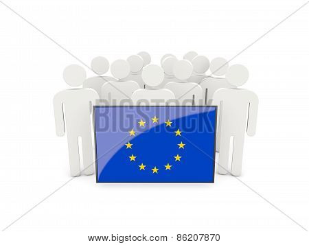 People With Flag Of European Union