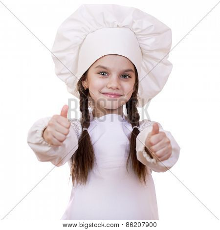 Cooking and people concept - smiling little girl in cook hat, isolated on white background