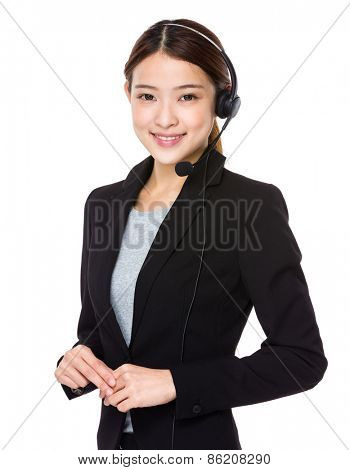 Beautiful call center operator with headset