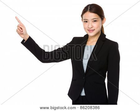 Asian corporate officer with finger point out