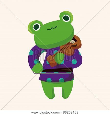 Animal Frog Playing Instrument Cartoon Theme Elements