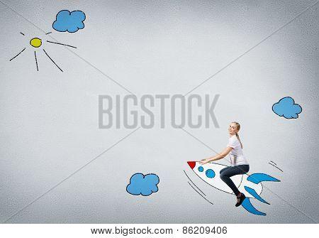 Girl on rocket