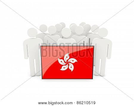 People With Flag Of Hong Kong