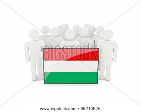 People With Flag Of Hungary