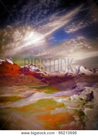 3D illustration of landscape with several mountains