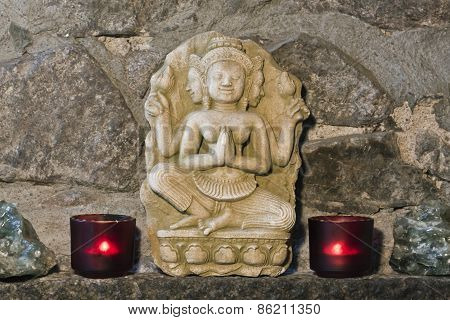 hindu stone carving, ancient handicraft from Thailand
