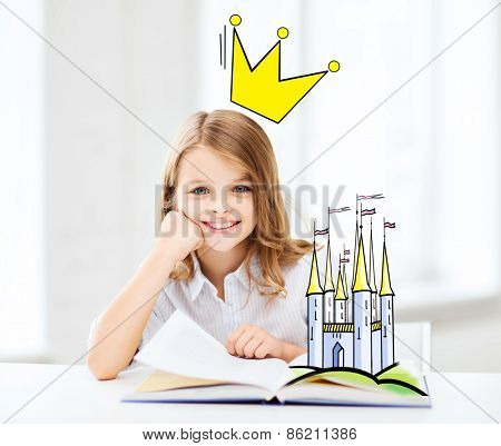 people, children, imagination and fairy tales concept - smiling girl reading book at home with castle and crown doodle over head