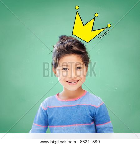 education, school and children concept - little student girl over green chalk board background and crown doodle
