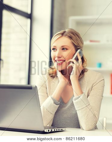 bright picture of businesswoman with cell phone