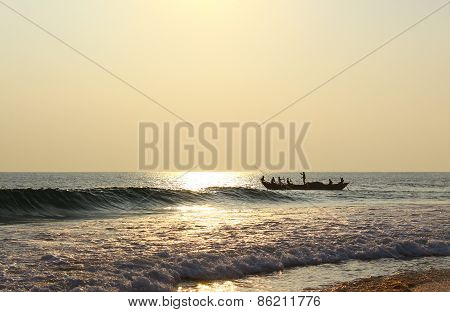 Fishing boat with fishermen