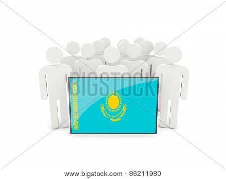 People With Flag Of Kazakhstan