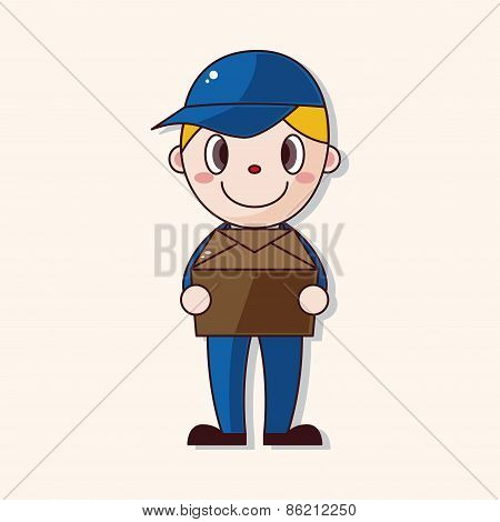 Deliveryman Theme Elements Vector,