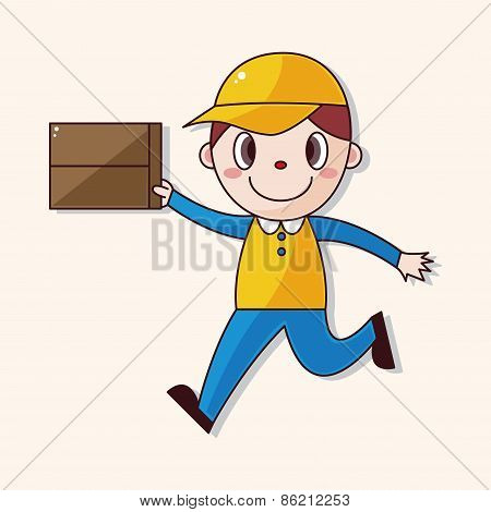 Deliveryman Theme Elements Vector