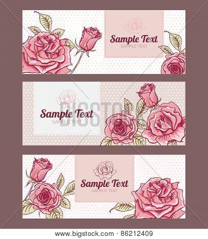 Vector Set Design Vintage Cards with Roses
