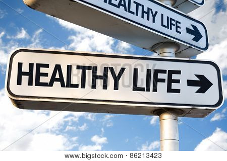 Healthy Life direction sign on sky background