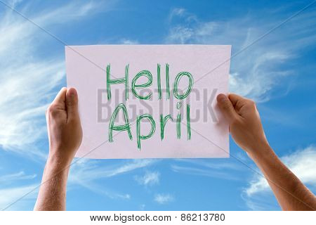 Hello April card with sky background