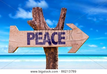 Peace sign with a beach on background