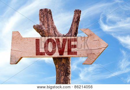 Love sign with sky background