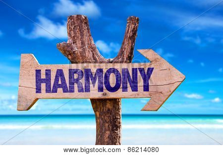Harmony sign with a beach on background