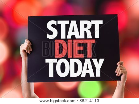 Start Diet Today card with bokeh background