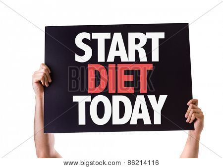 Start Diet Today card isolated on white