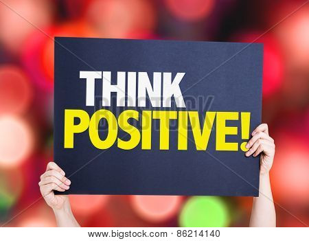 Think Positive card with bokeh background