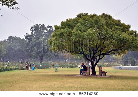Chandigarh, India - January 4, 2015: Tourist Visit Zakir Hussain Rose Garden In Chandigarh