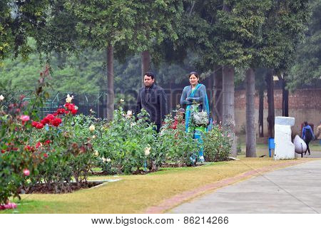 Chandigarh, India - January 4, 2015: Indian People Visit Zakir Hussain Rose Garden In Chandigarh