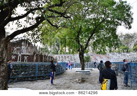 Chandigarh, India - January 4, 2015: People Visit Rock Statues At The Rock Garden In Chandigarh